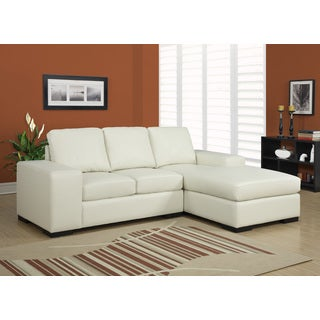 Ivory Bonded Leather Sofa Lounger