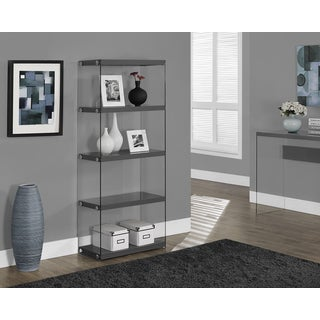 Glossy Grey and Tempered Glass Bookcase