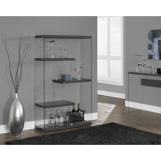 Glossy Grey and Tempered Glass 60-inch Bookcase