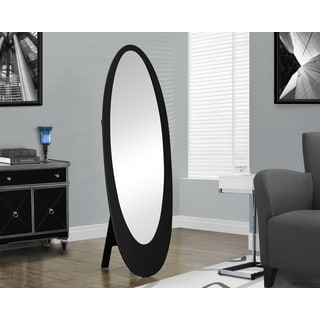 Contemporary Black Oval Cheval Mirror