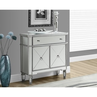 Brushed Silvertone Mirrored 32-inch Accent Table