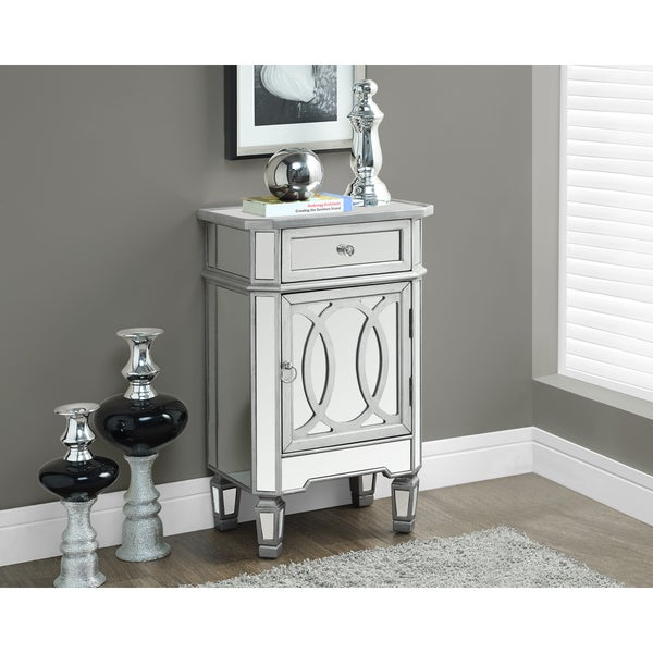 mirrored accent table modern silver cabinet nightstand bedroom room
