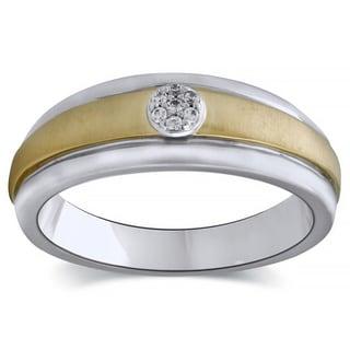 Bridal Symphony 10k Two-tone Gold Men's Diamond Accent Wedding Band (I-J, I1-I2)