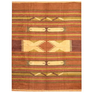 Herat Oriental Indo Hand-Woven Chenille Durry Rust/ Brown Wool Rug (8' x 10')