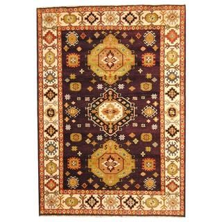 Herat Oriental Indo Hand-knotted Tribal Kazak Dark Brown/ Green Wool Rug (5'10 x 8'2)