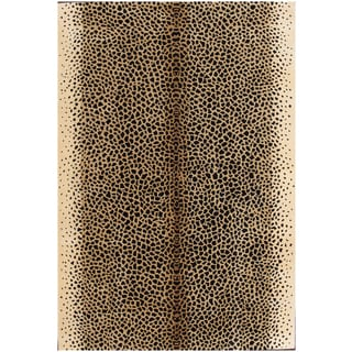 Cheetah Black/ Ivory Wool Cheetah print Area Rug (6' x 9')