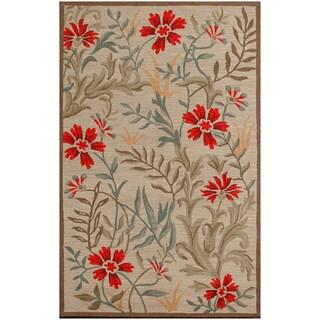 Dia Floral Beige Handmade Wool Floral Area Rug (5' x 8')