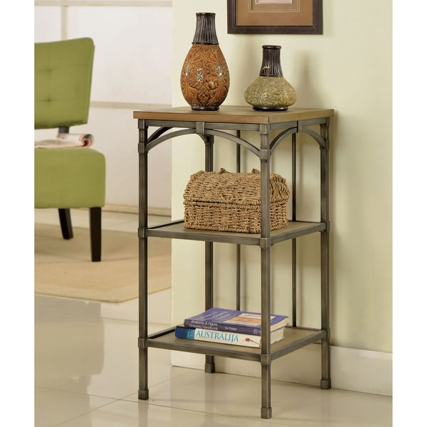 Furniture of America Brywood Natural Industrial 3-Shelf Side Table