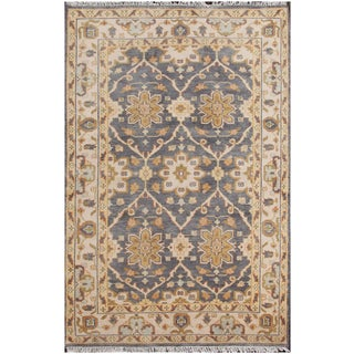 Sultanabad Persian-style Hand-knotted Wool Lilac Floral Area Rug (5' x 8')