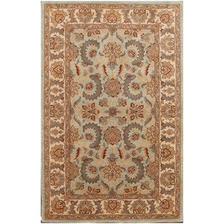 Agra Persain-style Wool Green Floral Area Rug (5' x 8')