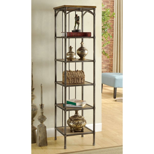 Furniture of America Brywood Natural Industrial 6-Tier Bookshelf