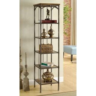 Furniture of America Brywood Natural Industrial 6-Tier Bookshelf
