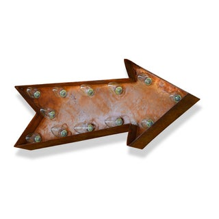 Indoor/ Outdoor Rusted Steel Small Arrow Iconic Marquee Sign