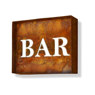 Pre-rusted Steel Engraved Bar Iconic Marquee Sign