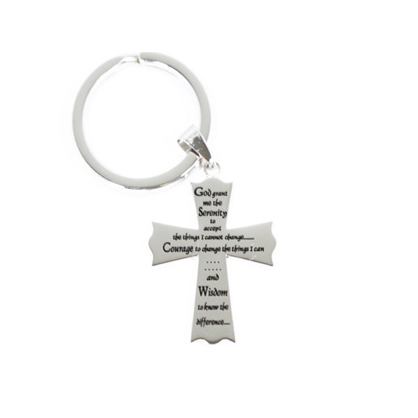Serenity Prayer Cross Keychain