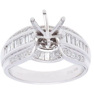 18K White Gold Three-row Baguette and Round-cut Diamond Semi-mount Engagement Ring (Size 6.5)
