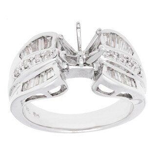 18K White Gold Round and Baguette Diamond Semi-mount Engagement Ring (Size 6.75)