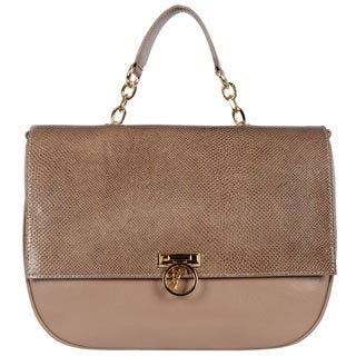 Versace Collection Snakeskin Embossed Satchel