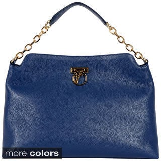 Versace Collection Pebble Leather Shoulder Bag
