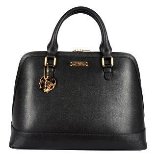 Versace Large Leather Satchel with Logo Key Chain