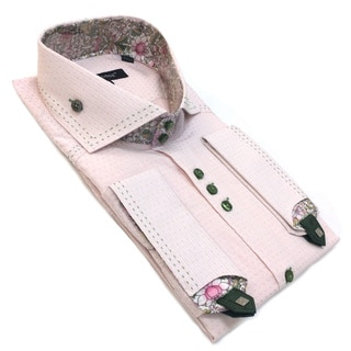 Bogosse Men's Pink Long Sleeve Button Front Shirt