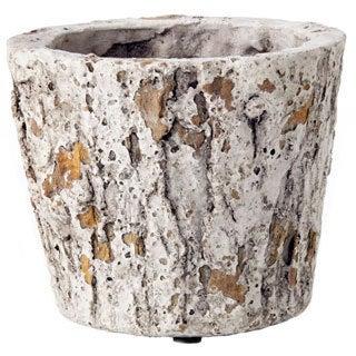 5-inch x 4.25-inch Cement Faux Bois Pot