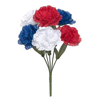 13-inch Red/ White/ Blue Carnation Bush (Pack of 24)