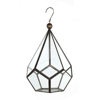 7.5-inch x 7.5-inch x 12-inch Antique Brass Hexagon Terrarium