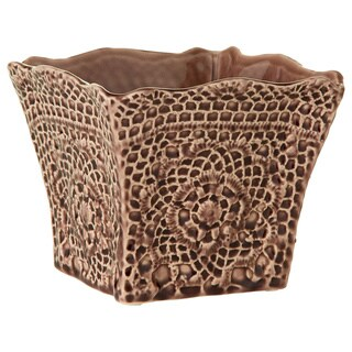 6.69-inch x 6.69-inch x 5.51-inch Ceramic Lace Pattern Square Pot Large