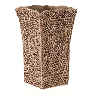 6.30-inch x 6.30-inch x 10.24-inch Ceramic Lace Pattern Vase