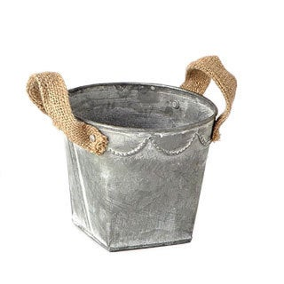 4.75-inch x 5-inch Tin Pot With Burlap Handles (Pack of 12)