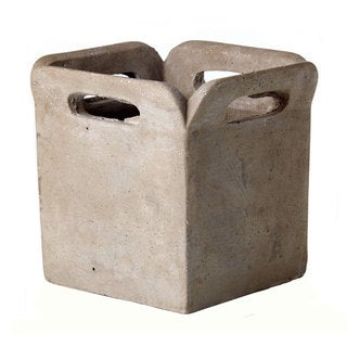 5.5-inch x 5-inch Cement Brown Bag Planter