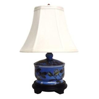 1-light Porcelain Blue Garden Design Table Lamp
