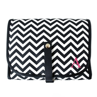 Personalized Chevron Hanging Cosmetic Bag with Grooming Set