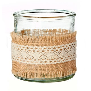 4-inch x 4-inch Burlap Vase Candle Holder (Pack of 8)