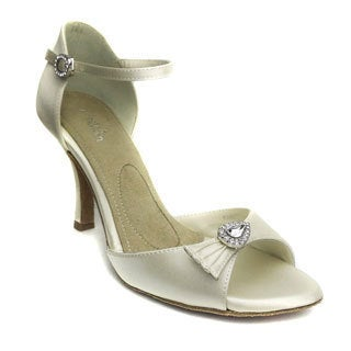 Angela Nuran Women's 'Fancie' Ivory Silk and Leather Wedding Heels