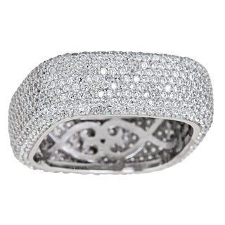 Sterling Silver Cubic Zirconia Square Micropave Eternity Ring