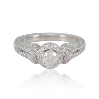 Suzy Levian 18k White Gold 4/5ct TDW Engagement Ring (F-G, I1-I2)