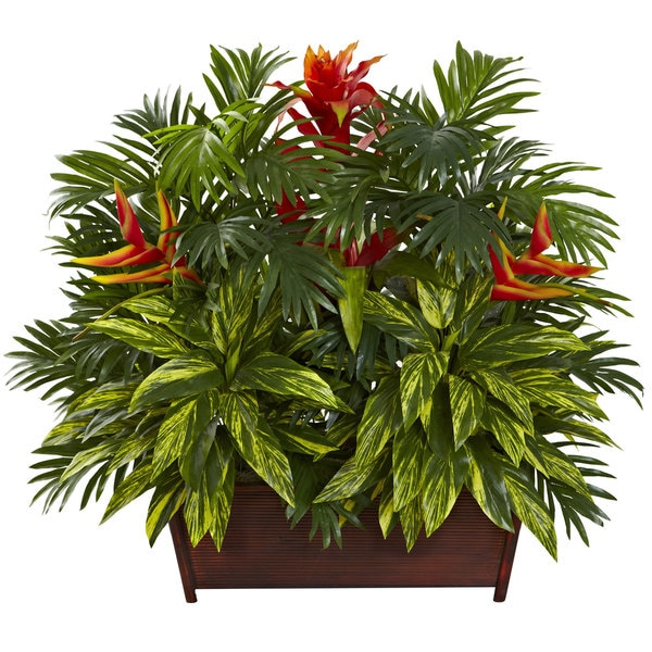 Tropical Garden Silk Plant With Wood Planter