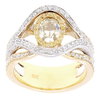 18K Two-tone Gold 1.04ct Oval Treated Yellow and White Diamond Ring (Size 6.25)