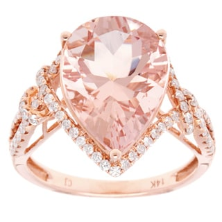 14K Rose Gold Pear-shaped Morganite Center Diamond Accent Ring (Size 7)