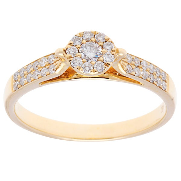 14K Yellow Gold Round Diamond-cluster Center Engagement Ring (Size 7)