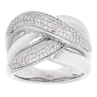 Sterling Silver Multi-row Pave Diamond Fashion Ring (Size 6.5)