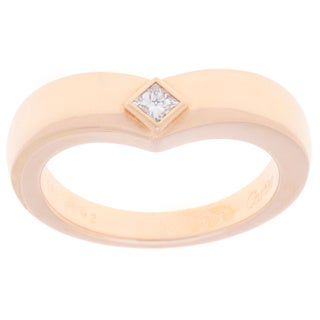 Pre-owned Cartier 18K Rose Gold Princess-cut Solitaire Band (Size 6.75)