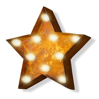 Indoor/ Outdoor Commercial Grade Rusted Steel Star Iconic Marquee Light