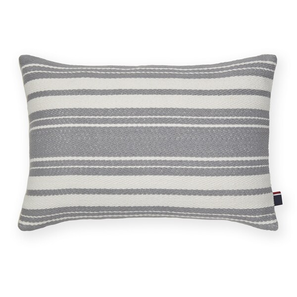 Tommy Hilfiger Woven Grey Stripe Decorative Throw Pillow