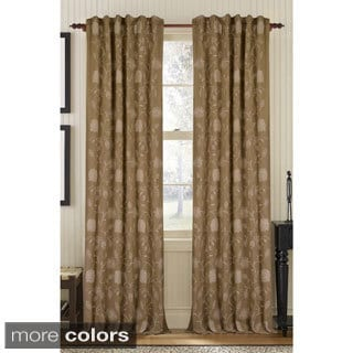Floral Embroidered Linen Rod Pocket Curtain Panel