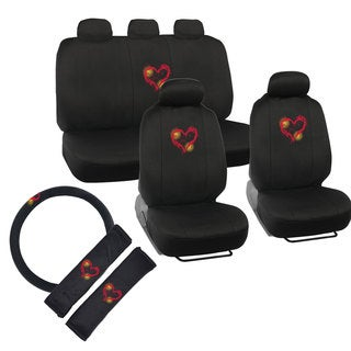 BDK Cute Heart Design Universal Car Seat Covers (Full Set)