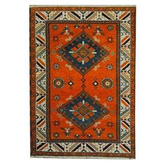 Herat Oriental Indo Hand-knotted Tribal Kazak Orange/ Blue Wool Rug (4'2 x 5'10)