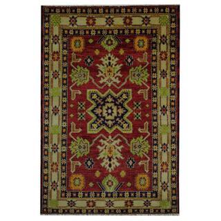 Herat Oriental Indo Hand-knotted Tribal Kazak Red/ Navy Wool Rug (4' x 6')